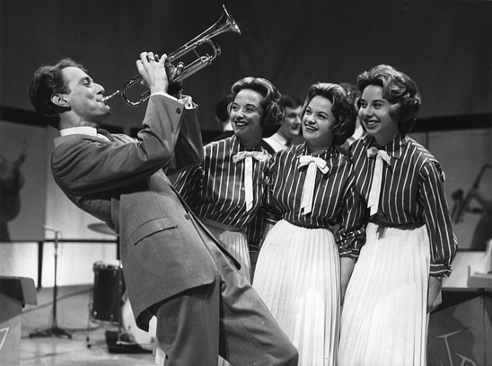 John Barry on the Drumbeat set with The Three Barry Sisters.