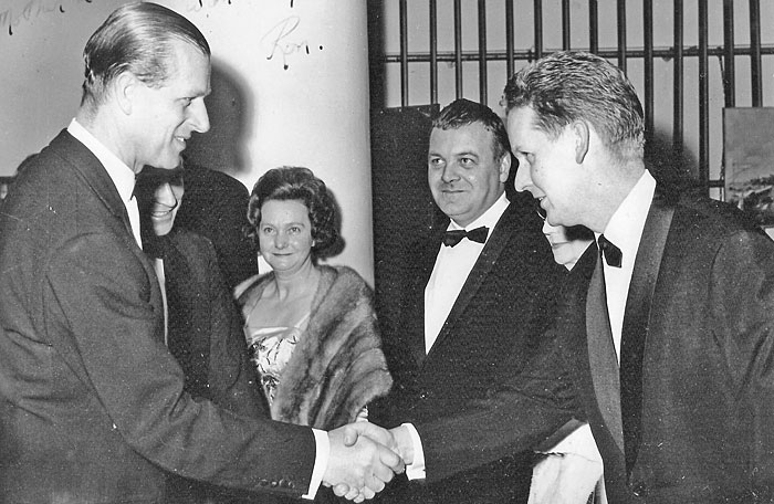 Ron Grainer meets HRH The Duke of Edinburg, at the premiere of The Finest Hours